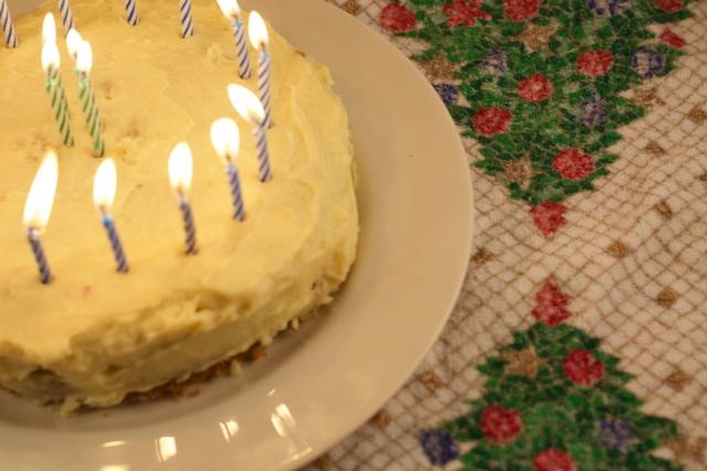 Brent's eggnog birthday cake
