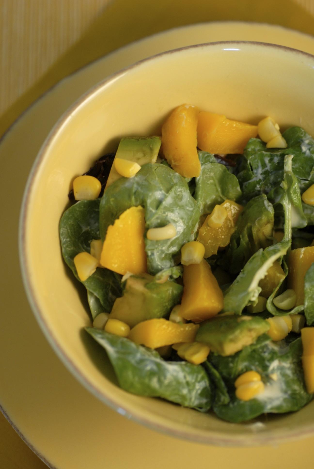 Roasted corn, avocado, and mango salad with creamy ginger dressing (silken tofu-based)