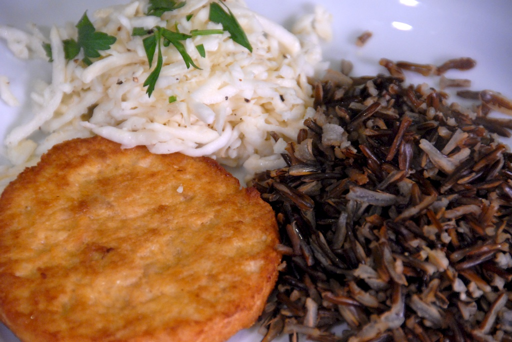 Trident Alaskan salmon burger, celery root slaw, and wild rice