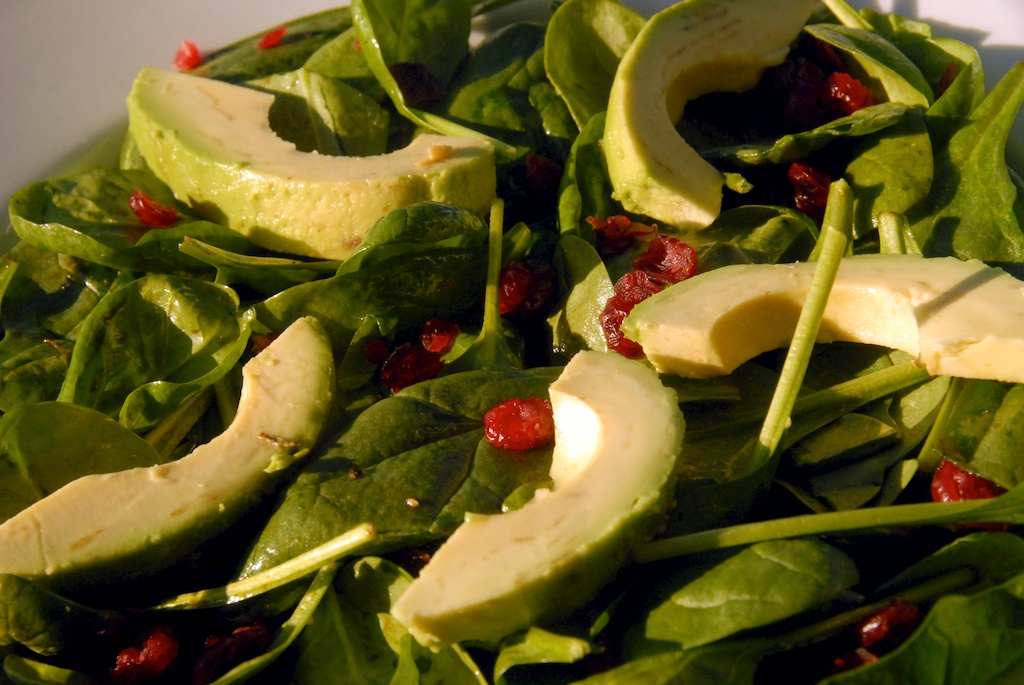 Spinach Salad with Avocado and Dried Cranberries