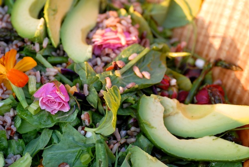 Mother's Day Picnic Salad with edible flowers, asparagus, and avocado (1)
