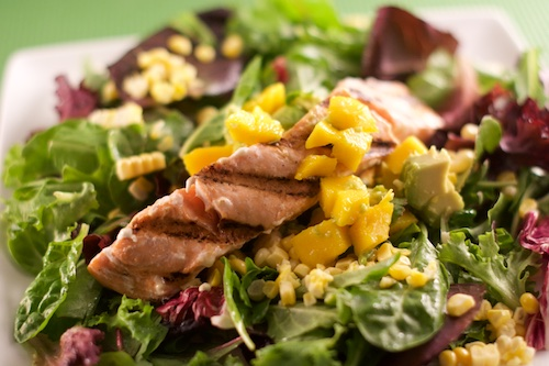 Spring Salmon Salad with Mango, Corn and Avocado