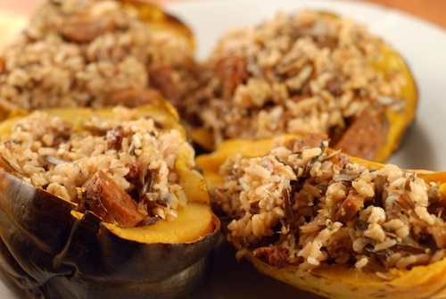 acorn squash with wild and brown rice