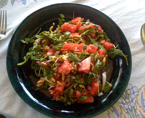 arugula watermelon salad with onion