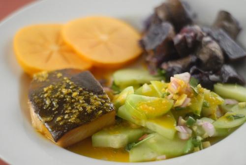 black cod, purple potato, cucumber salad, and fuyu persimmon dinner