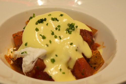 Roasted Root Vegetables with Poached Egg, Hollandaise, and Harissa