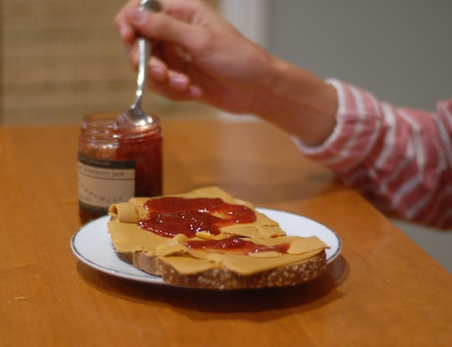 brunost with jam