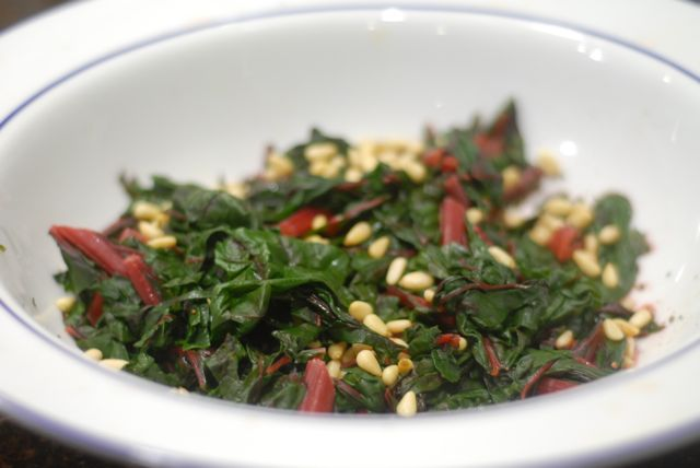 chard with pine nuts