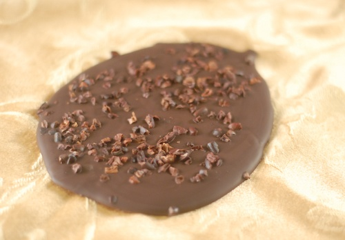 chocolate bark with cocoa nibs