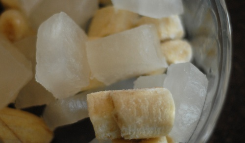 frozen banana chunks and coconut water ice cubes