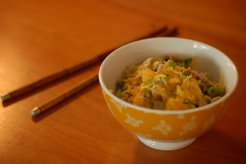 hot pepper sesame spaghetti squash with scallions and artichoke hearts (1)