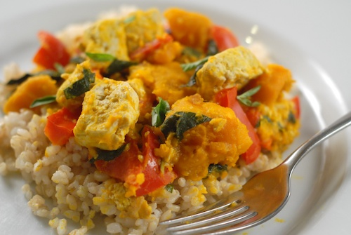 kabocha coconut red Thai curry