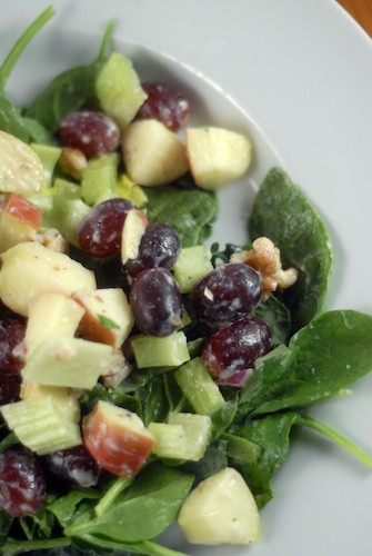 kale waldorf salad with non-dairy yogurt honey dressing