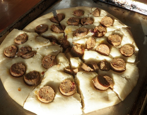 lagana with veggie sausage
