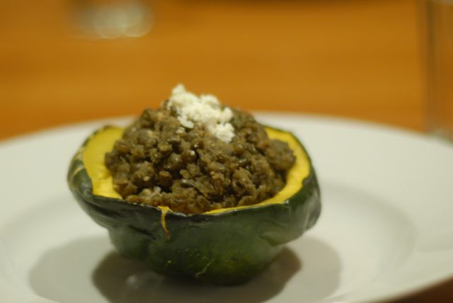 lentils with feta in acorn squash
