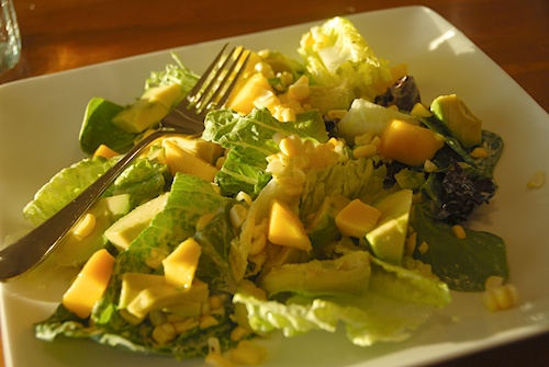 mango avocado and corn salad with creamy ginger dressing