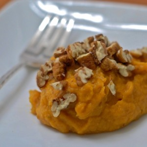 Mashed Sweet Potatoes with Candied Maple Pecans