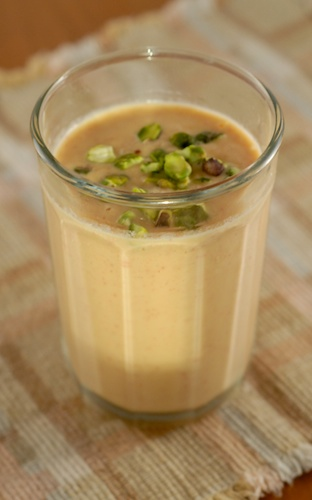 Peach Lassi with Pistachios