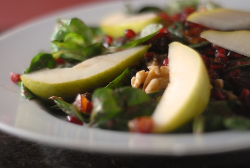 pear pomegranate walnut cranberry date mache spinach salad (2)