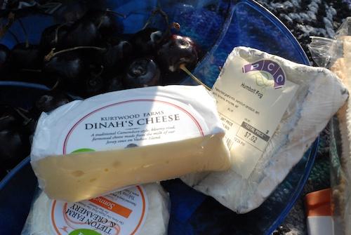 picnic cheeses and cherries