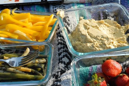 picnic hummus and berries