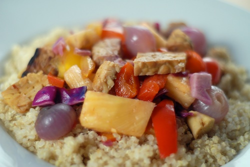Tempeh, Bell Pepper and Pineapple Stir-fry with Red Pearl Onions