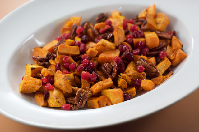 Sweet Potato, Cranberry, and Pecan Gratin