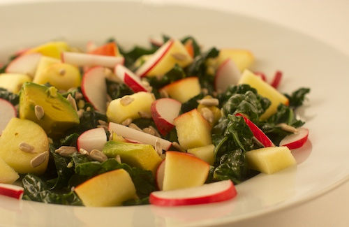 Rockin' Raw Salad with Kale, Apple, Radish, Avocado and Ginger Honey Lemon Dressing