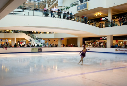 people watching the skating at Lloyd Center