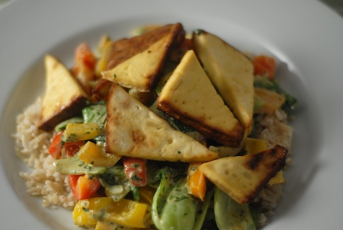 stirfry with baked ginger garlic tofu and almond cilantro sauce