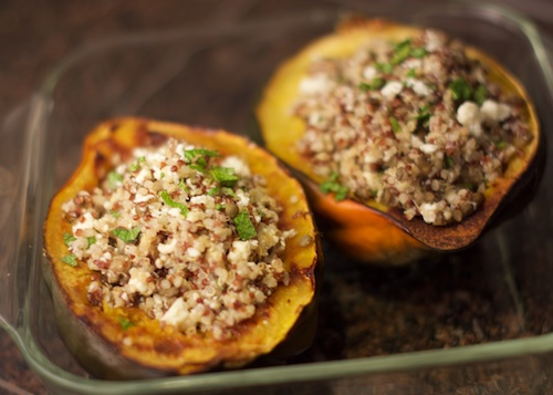 stuffed acorn squash with feta, mint, black lentils, quinoa