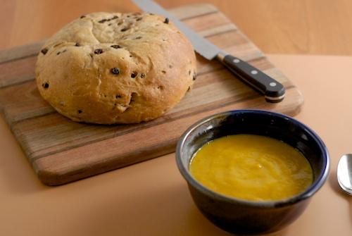 walnut currant bread and butternut squash pear soup