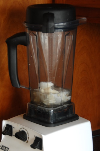 young coconut milk and meat in the blender